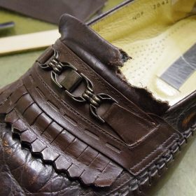 犬にかじられた靴の修理例