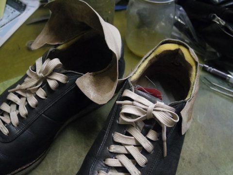 革製スニーカー ライニング(すべり革)補修例 3-2
