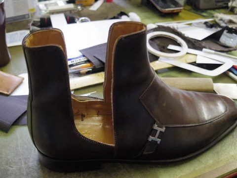エルメス ブーツ サイドゴア交換例 3