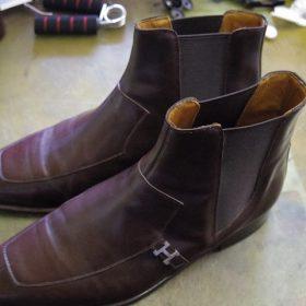 エルメス ブーツ サイドゴア交換例
