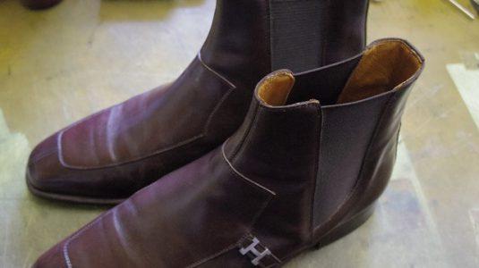 エルメス ブーツ サイドゴア交換例 4-1