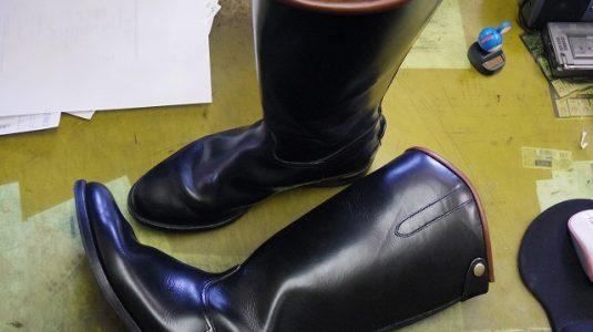 乗馬用ブーツをライディングブーツに改造 3-1