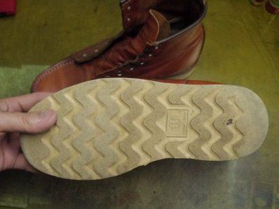 ブーツ オールソールおよび履き口補修例 2-2