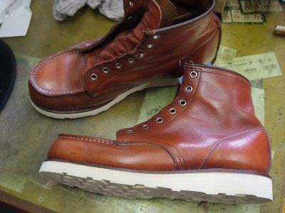 ブーツ オールソールおよび履き口補修例 4-1