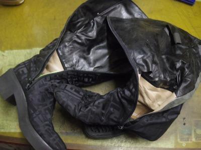 婦人ブーツ ライニング交換例