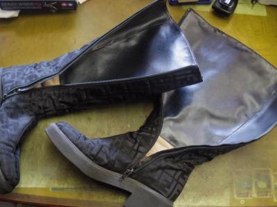 婦人ブーツ ライニング交換例 3
